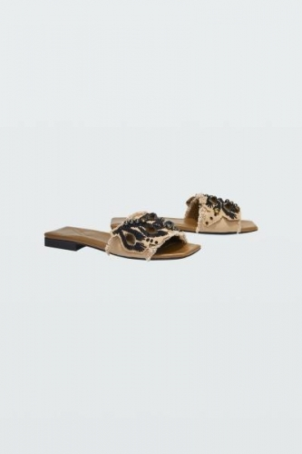 Dorothee Schumacher EMBROIDERED DREAMS sandalen - black on beige