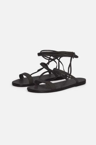 Closed leren sandalen black